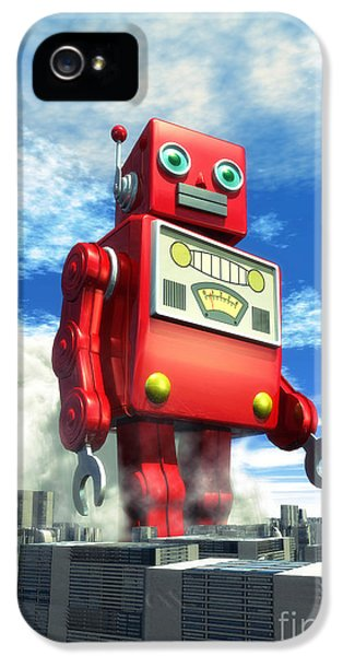The Red Tin Robot And The City IPhone 5 Case by Luca Oleastri