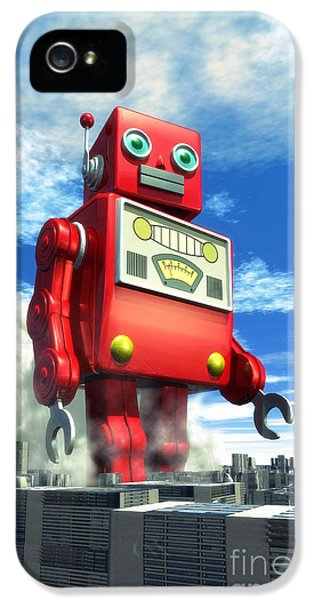 The Red Tin Robot And The City IPhone 5 Case