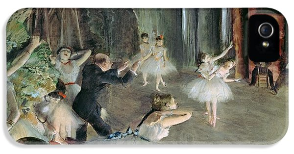 The Rehearsal Of The Ballet On Stage IPhone 5 Case by Edgar Degas