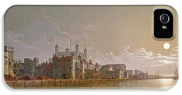 The Thames By Moonlight With Traitors' Gate And The Tower Of London IPhone 5 Case by Henry Pether
