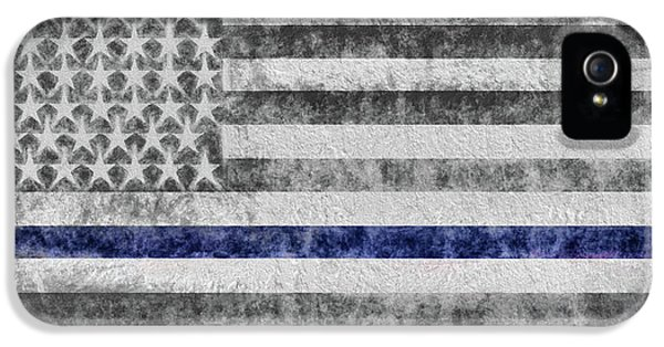 IPhone 5 Case featuring the digital art The Thin Blue Line American Flag by JC Findley