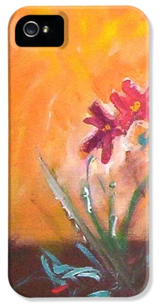 IPhone 5 Case featuring the painting The Three Daisies by Winsome Gunning