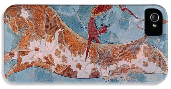 The Toreador Fresco, Knossos Palace, Crete IPhone 5 Case by Greek School