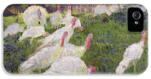 Turkey iPhone 5 Case - The Turkeys At The Chateau De Rottembourg by Claude Monet