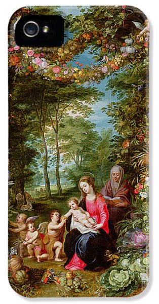 The Virgin And Child With The Infant Saint John The Baptist, Saint Anne And Angels, Surrounded By A  IPhone 5 Case by Brueghel and Balen