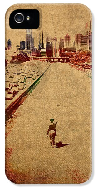 The Walking Dead Watercolor Portrait On Worn Distressed Canvas No 2 IPhone 5 Case