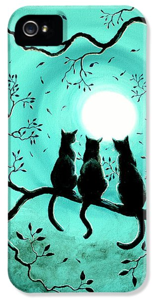 Three Black Cats Under A Full Moon IPhone 5 Case by Laura Iverson