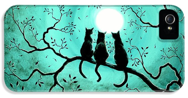 Surrealism iPhone 5 Case - Three Black Cats Under A Full Moon by Laura Iverson
