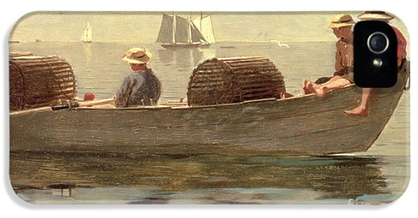 Three Boys In A Dory IPhone 5 Case by Winslow Homer