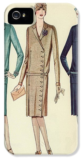 Three Flappers Modelling French Designer Outfits, 1928 IPhone 5 Case by American School