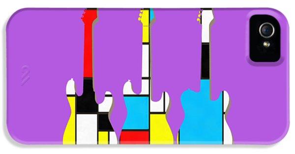 Guitar iPhone 5 Case - Three Guitars Modern Tee by Edward Fielding