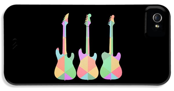 Guitar iPhone 5 Case - Three Guitars Triangles Tee by Edward Fielding