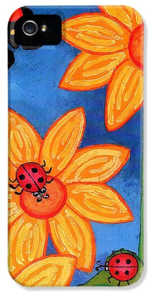 Three Ladybugs And Butterfly IPhone 5 Case