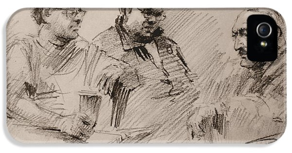 Chat iPhone 5 Case - Three Men Chatting by Ylli Haruni