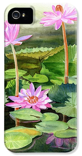 Lily iPhone 5 Case - Three Pink Water Lilies With Pads by Sharon Freeman