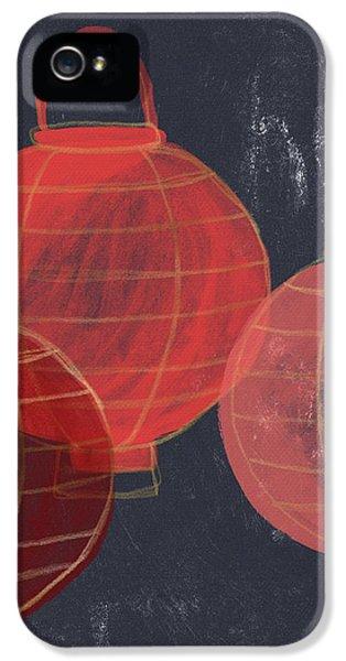 Three Red Lanterns- Art By Linda Woods IPhone 5 Case by Linda Woods