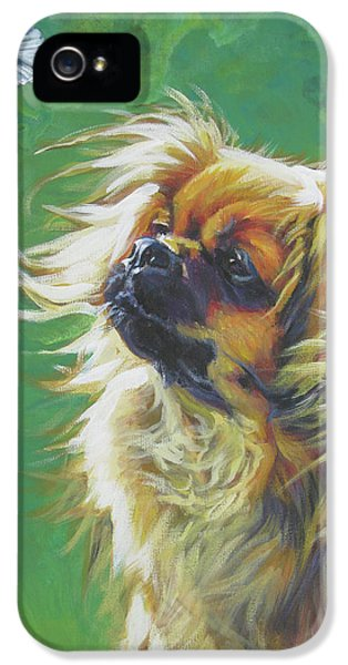 Tibetan Spaniel And Cabbage White Butterfly IPhone 5 / 5s Case by Lee Ann Shepard