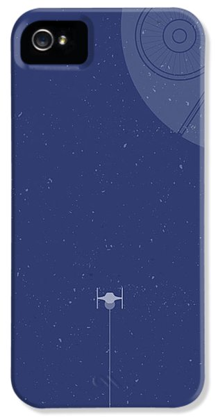 Space Ships iPhone 5 Case - Tie Fighter Defends The Death Star by Samuel Whitton