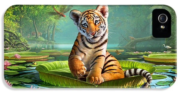 Turtle iPhone 5 Case - Tiger Lily by Jerry LoFaro