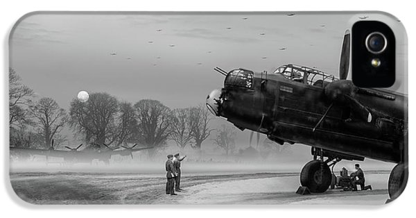 IPhone 5 Case featuring the photograph Time To Go - Lancasters On Dispersal Bw Version by Gary Eason