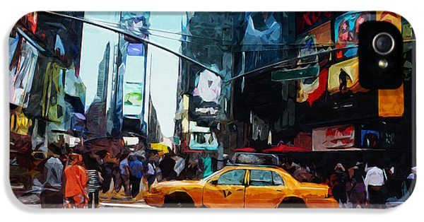 Times Square iPhone 5 Case - Times Square Taxi- Art By Linda Woods by Linda Woods