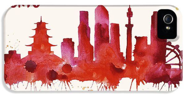 Tokyo Skyline Watercolor Poster - Cityscape Painting Artwork IPhone 5 Case by Beautify My Walls