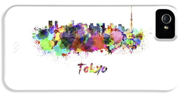 Tokyo V2 Skyline In Watercolor IPhone 5 Case by Pablo Romero