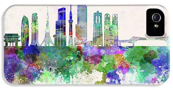 Tokyo V3 Skyline In Watercolor Background IPhone 5 / 5s Case by Pablo Romero