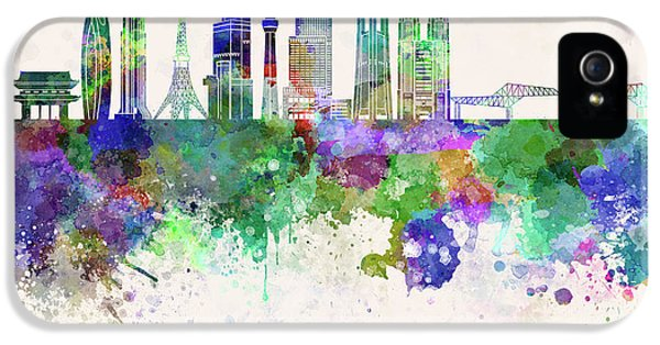 Tokyo V3 Skyline In Watercolor Background IPhone 5 Case