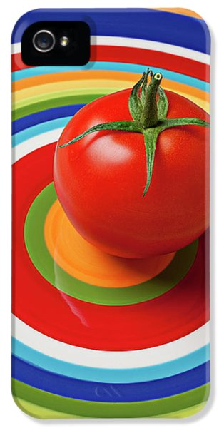 Tomato iPhone 5 Case - Tomato On Plate With Circles by Garry Gay