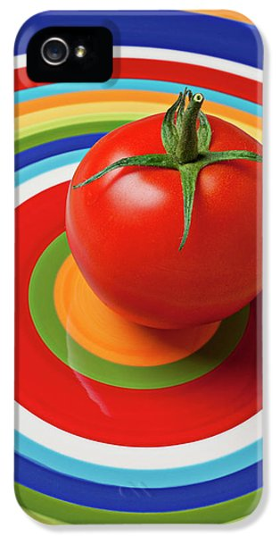 Tomato On Plate With Circles IPhone 5 Case by Garry Gay