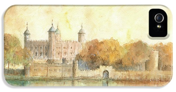 Tower Of London Watercolor IPhone 5 Case by Juan Bosco