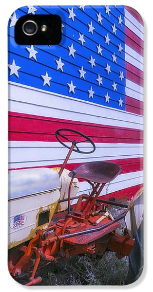 Tractor And Large Flag IPhone 5 Case by Garry Gay