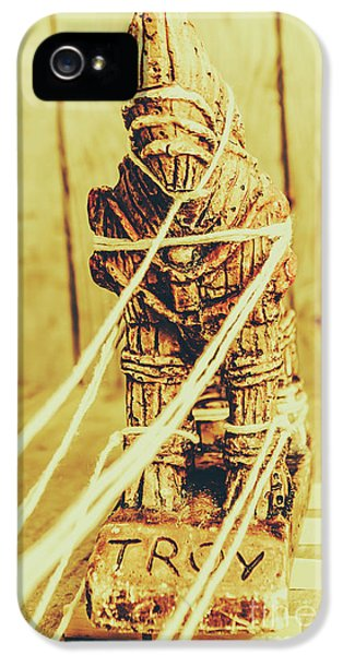 Trojan Horse Wooden Toy Being Pulled By Ropes IPhone 5 Case by Jorgo Photography - Wall Art Gallery