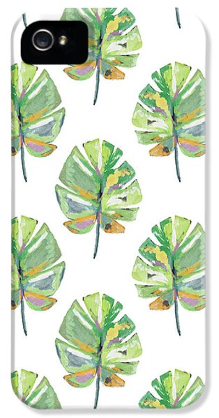 Tropical Leaves On White- Art By Linda Woods IPhone 5 Case