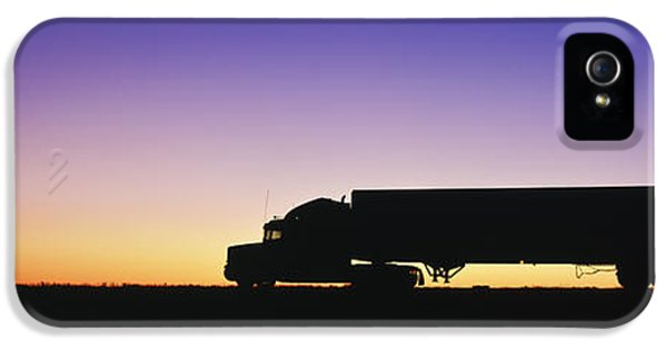 Truck iPhone 5 Case - Truck Parked On Freeway At Sunrise by Jeremy Woodhouse