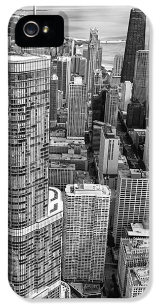 IPhone 5 Case featuring the photograph Trump Tower And John Hancock Aerial Black And White by Adam Romanowicz