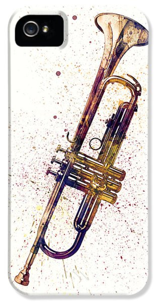 Trumpet iPhone 5 Case - Trumpet Abstract Watercolor by Michael Tompsett