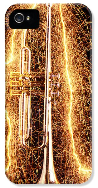 Trumpet iPhone 5 Case - Trumpet Outlined With Sparks by Garry Gay