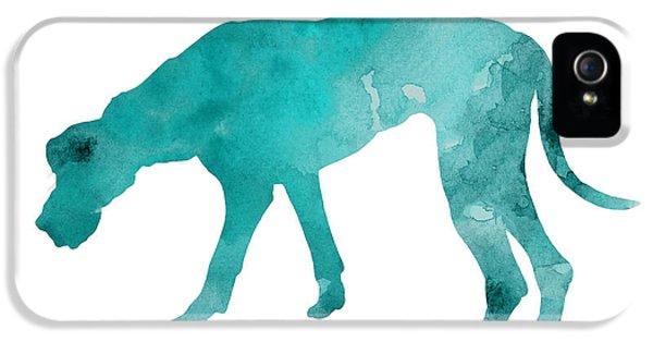 Dog iPhone 5 Case - Turquoise Great Dane Watercolor Art Print Paitning by Joanna Szmerdt