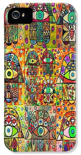 Hanukkah iPhone 5 Cases - Twelve Hamsas iPhone 5 Case by Sandra Silberzweig