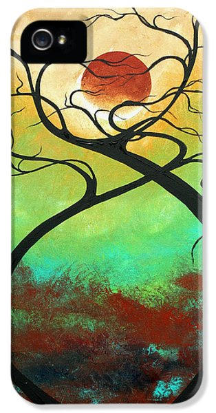Turquoise iPhone 5 Cases - Twisting Love II Original Painting by MADART iPhone 5 Case by Megan Duncanson