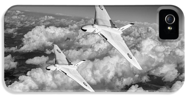 IPhone 5 Case featuring the photograph Two Avro Vulcan B1 Nuclear Bombers Bw Version by Gary Eason
