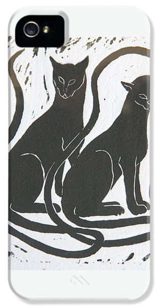IPhone 5 Case featuring the drawing Two Black Felines by Nareeta Martin