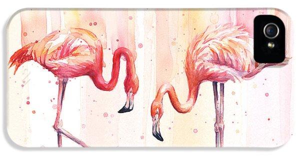 Flamingo iPhone 5 Case - Two Flamingos Watercolor by Olga Shvartsur