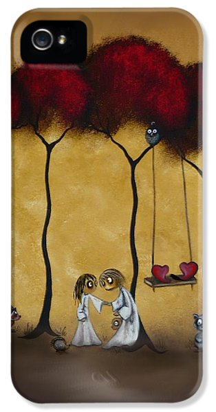 Raccoon iPhone 5 Case - Two Hearts by Charlene Zatloukal