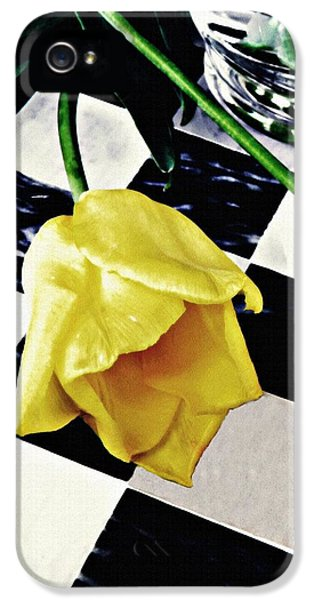 Two Yellow Tulips On The Checker Board IPhone 5 Case by Sarah Loft