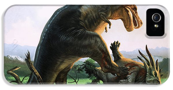 Tyrannosaurus Rex Eating A Styracosaurus IPhone 5 Case by William Francis Phillipps