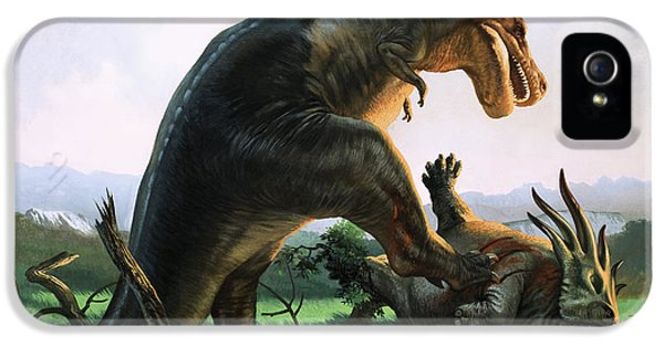 Tyrannosaurus Rex Eating A Styracosaurus IPhone 5 / 5s Case by William Francis Phillipps