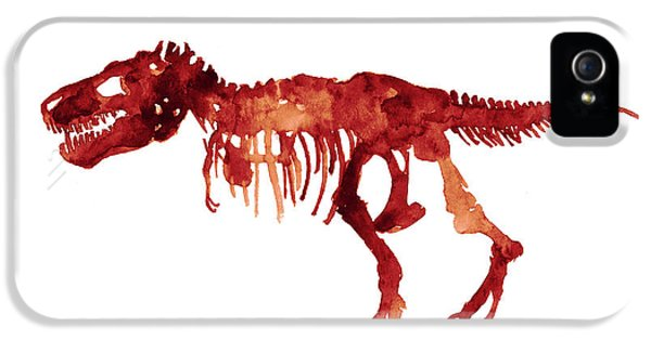 Tyrannosaurus Rex Skeleton Poster, T Rex Watercolor Painting, Red Orange Animal World Art Print IPhone 5 Case by Joanna Szmerdt